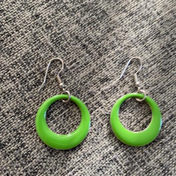 Vintage Green Drop Hoops